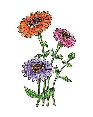Zinnias Wall Art - Painting - Zinnia Flowers Watercolor by Irina Sztukowski