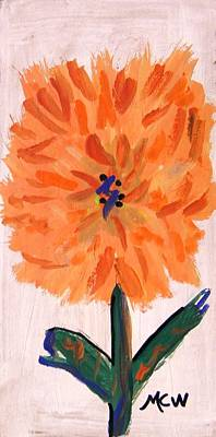 Nature Center Drawing - Zinnia On Whitewash by Mary Carol Williams