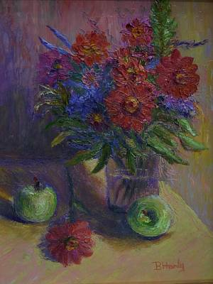 Zinnias And Apples Art Print by Bonnie Hanly
