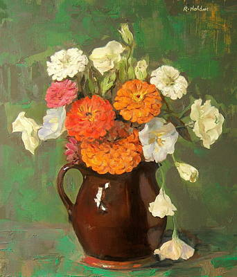 Painting - Zinnias And Lisianthus by Robert Holden