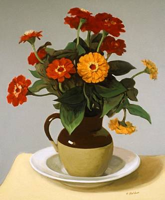 Painting - Zinnias, Bi-color Pitcher And Pasta Plate by Robert Holden