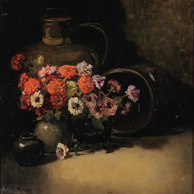 Zinnia Painting - Zinnias by Dorothy Kate Richmond