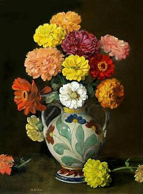 Painting - Zinnias In Decorative Italian Vase by Robert Holden