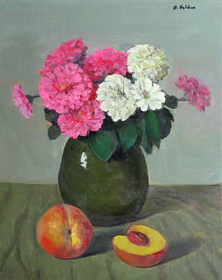 Painting - Zinnias In Green Pottery And Peaches by Robert Holden