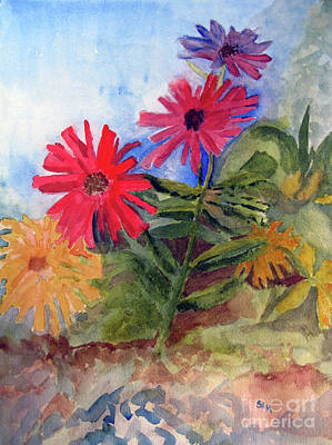 Painting - Zinnias In The Garden by Sandy McIntire