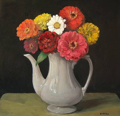 Painting - Zinnias In White Coffeepot by Robert Holden