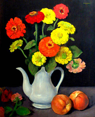 Painting - Red And Yellow Zinnias by Robert Holden