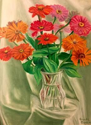 Painting - Zinnias Like Lights by Randy Burns