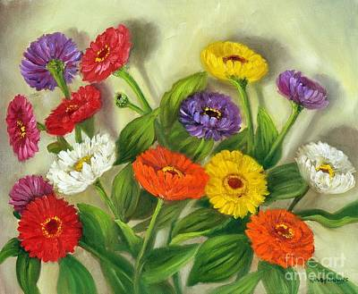 Art Print featuring the painting Zinnias by Randol Burns