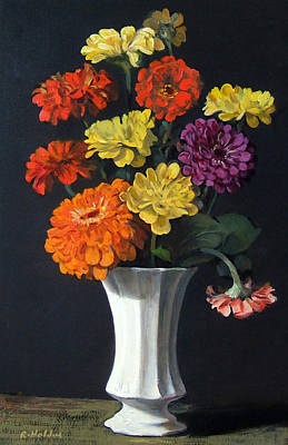 Painting - Zinnias Showing Their True Colors In White Vase by Robert Holden