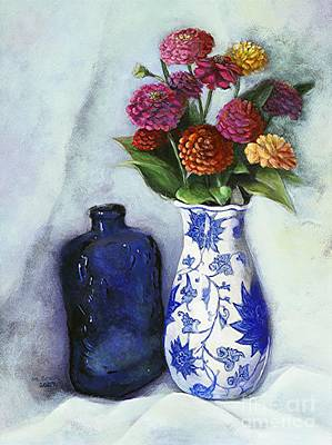 Art Print featuring the painting Zinnias With Blue Bottle by Marlene Book