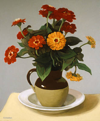 Painting - Zinnias,bi-color Pitcher And Pasta Plate by Robert Holden