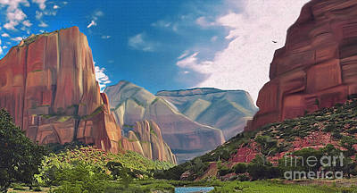 Digital Art - Zion Cliffs by Walter Colvin