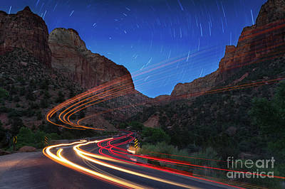 Photograph - Zion Light Trails by Jerry Fornarotto