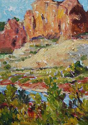 Painting - Zion Mountain Cliff by Owen Hunt