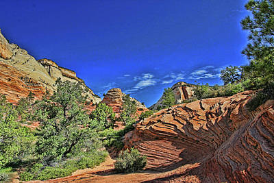 Photograph - Zion N P # 16 - Zion -  Mt. Carmel Highway by Allen Beatty