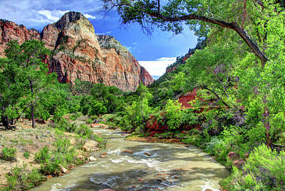 Photograph - Zion N P # 43 - Virgin River And The Watchman by Allen Beatty