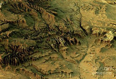 Zion National Park 3d Landscape View West-east Natural Color Art Print