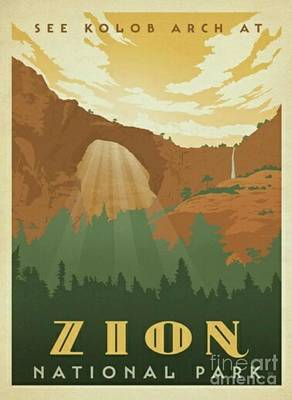 Zion National Park Mixed Media - Zion National Park by Blackwater Studio
