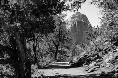 Photograph - Zion National Park Hike Black And White by John McGraw