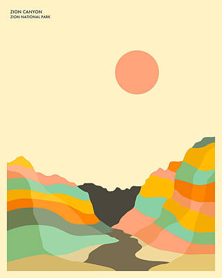 Minimal Landscape Digital Art - Zion National Park by Jazzberry Blue