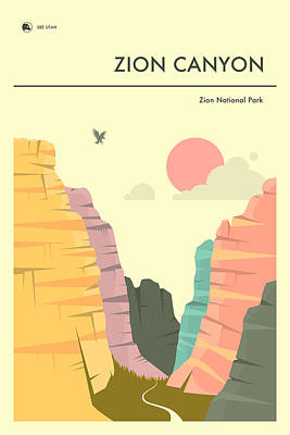Zion Canyon Digital Art - Zion National Park Poster by Jazzberry Blue