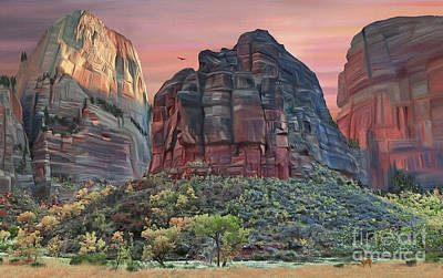 Digital Art - Zion National Park Sunset by Walter Colvin