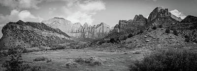 Photograph - Zion National Park - Towers Of The Virgin Panorama - Black And White by Gregory Ballos