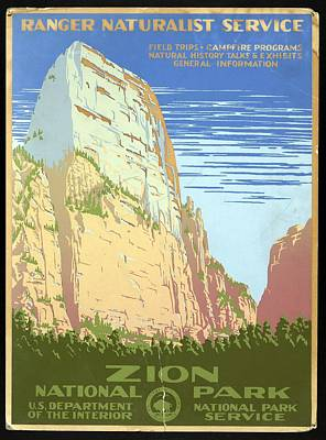 Royalty-Free and Rights-Managed Images - Zion National Park, United States - Ranger Naturalist Service - Retro travel Poster - Vintage Poster by Studio Grafiikka