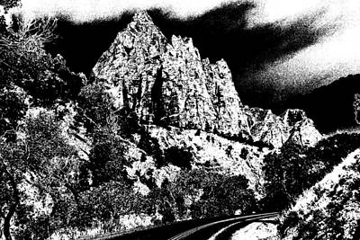 Zion National Park Utah - Ink Art Print by Art America Gallery Peter Potter