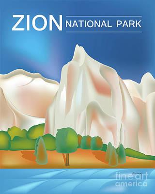 Zion National Park Digital Art - Zion National Park Vertical Scene by Karen Young