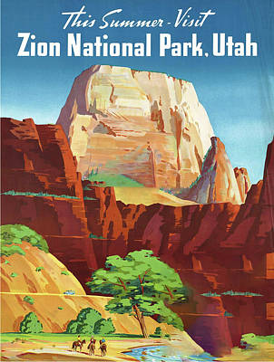 Zion National Park Drawing - Zion National Park - Vintage Travel Poster by Ipa