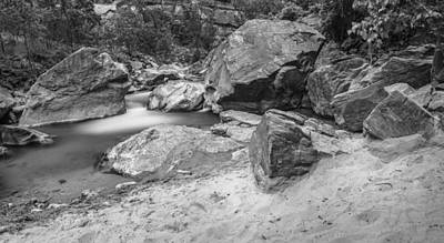 Photograph - Zion River Pano Black And White by John McGraw