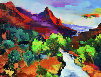 Zion - The Watchman And The Virgin River Vista Art Print by Elise Palmigiani