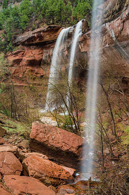 Photograph - Zion Triple Waterfall by Greg Nyquist