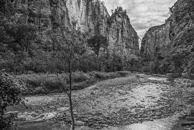 Photograph - Zion Valley And River Black And White by John McGraw