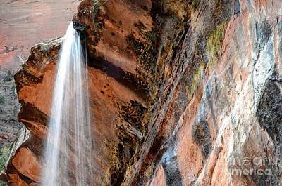 Zion Photograph - Zion Waterfall At Emerald Pools by Rincon Road Photography By Ben Petersen