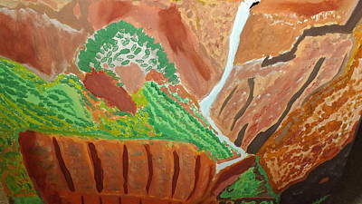 Zion National Park Mixed Media - Zion Waterfall  Bottom by Don Koester