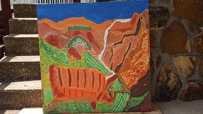 Zion National Park Mixed Media - Zion Waterfall  by Don Koester