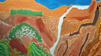 Zion National Park Mixed Media - Zion Waterfall   Middle by Don Koester