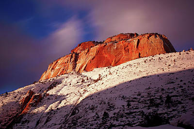 Photograph - Zion's East Temple At Sunset by Daniel Woodrum