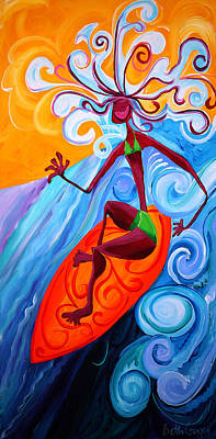 Surfer Girl Painting - Zipadedoo by Beth Cooper