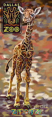 Painting - Zipenzi The Dallas Zoo's Baby Giraffe by Tim Gilliland