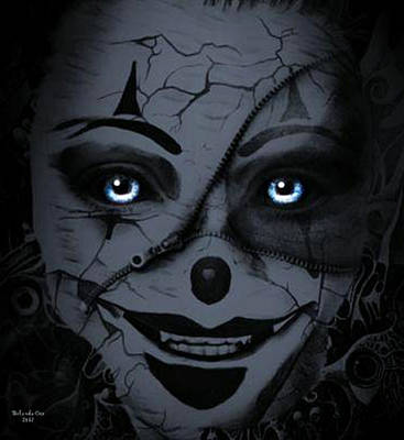 Digital Art - Zipper Face Clown by Artful Oasis