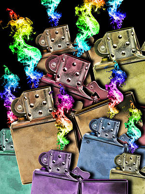 Painting - Zippo Lighter Mayhem Pop 1 by Tony Rubino