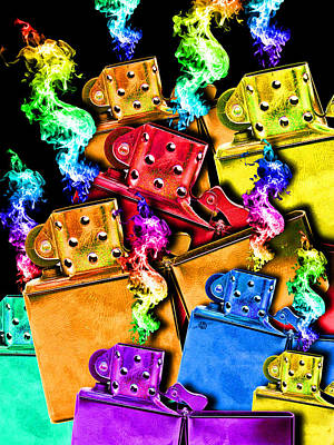Painting - Zippo Lighter Mayhem Crazy Bright Pop 3 by Tony Rubino