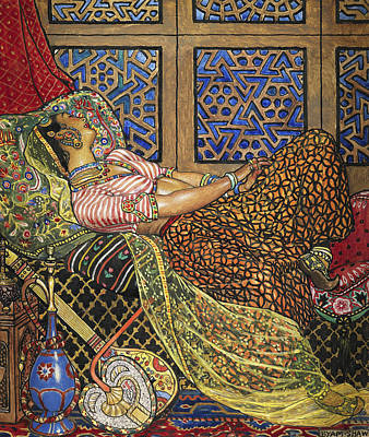 Indian Musical Instrument Painting - Zira In Captivity by John Byam Liston Shaw