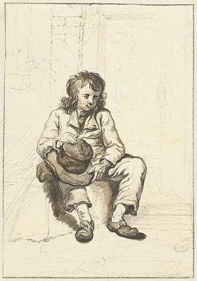 Painting - Zittende Jongen Met Hoed Op Schoot Bij Een Deuropening Abraham Van Strij  I   1763   1826 by Artistic Panda