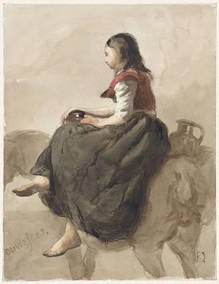Painting - Zittende Vrouw Op Een Paard Met Twee Kannen Johan Daniel Koelman  1841   1857 by Artistic Panda