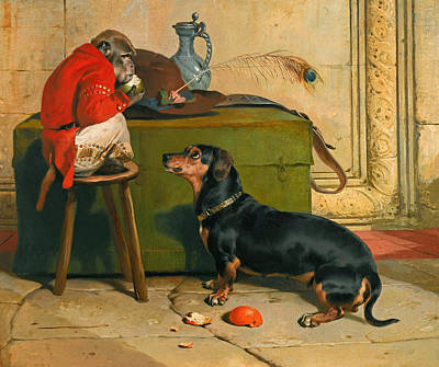 Red Monkey Painting - Ziva A Badger-dog Belonging To The Hereditary Prince Of Saxe Coburg-gotha by Edwin Landseer
